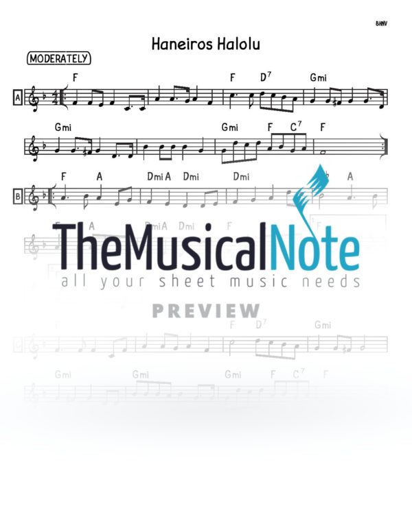 Haneiros Halolu Music Sheet
