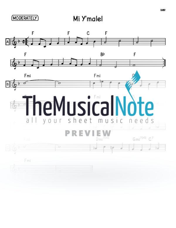 Mi Ymalel Music Sheet