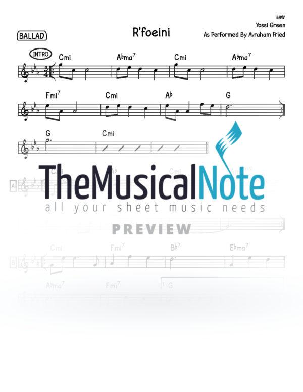 Rfoeinu Avraham Fried Music Sheet