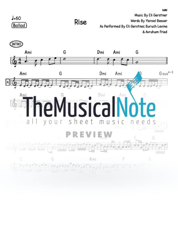 Rise Eli Gerstner Baruch Levine Avraham Fried Music Sheet