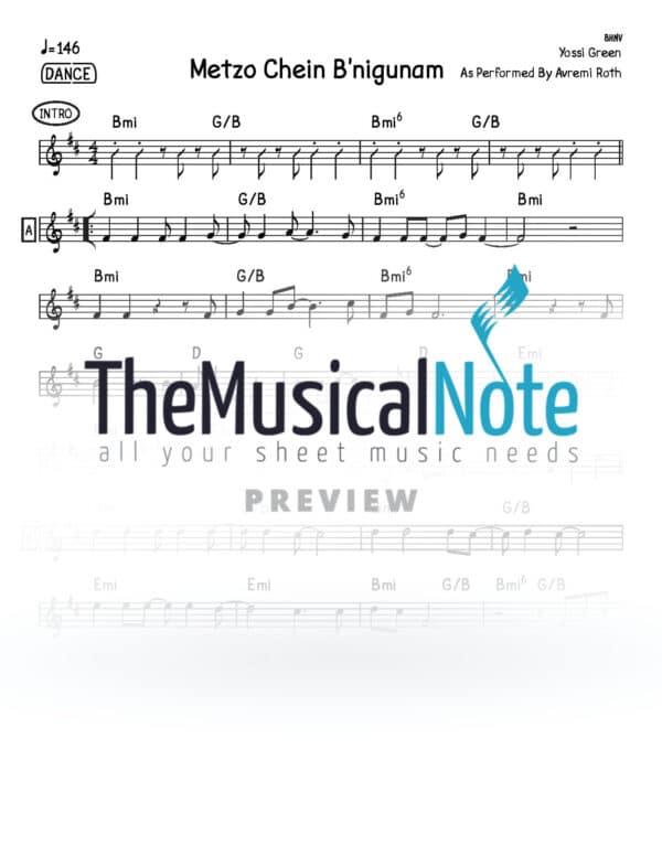 Metzo Chein B nigunam Avremi Roth Music Sheet