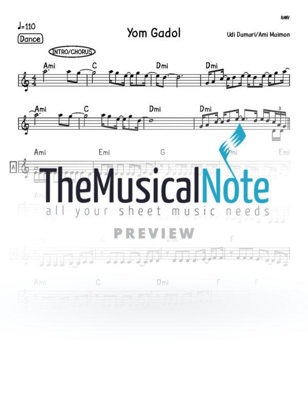 Yom Gadol Udi Damari & Ami Maimon Music Sheet