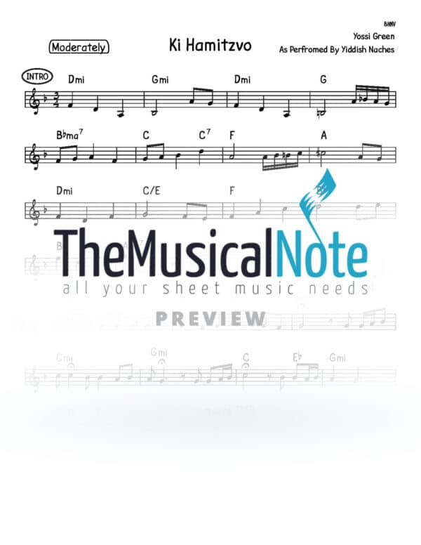 Ki Hamitzvo Yiddish Naches Music Sheet