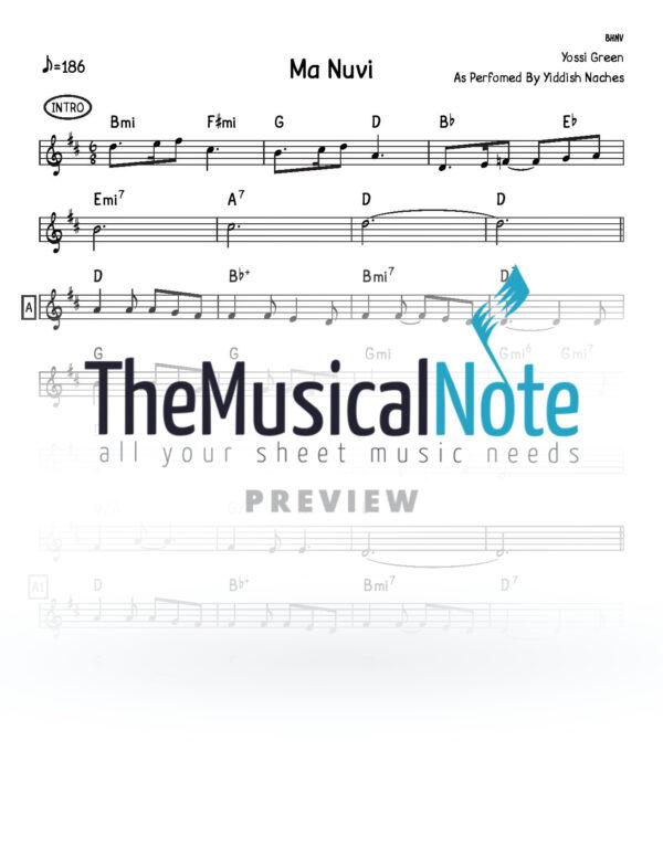 Ma Nuvi Yiddish Nachas Music Sheet