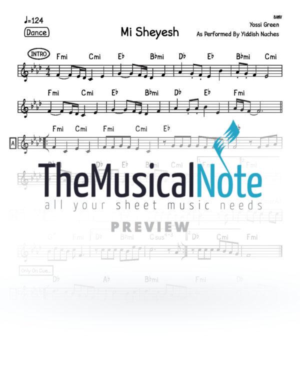 Mi Sheyesh Yiddish Naches Music Sheet