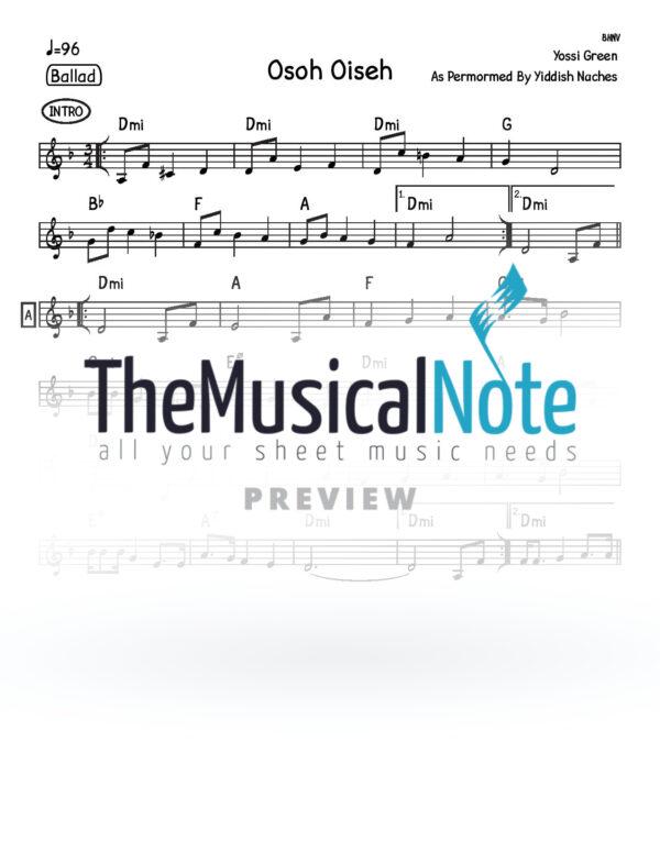 Osoh Oiseh Yiddish Naches Music Sheet