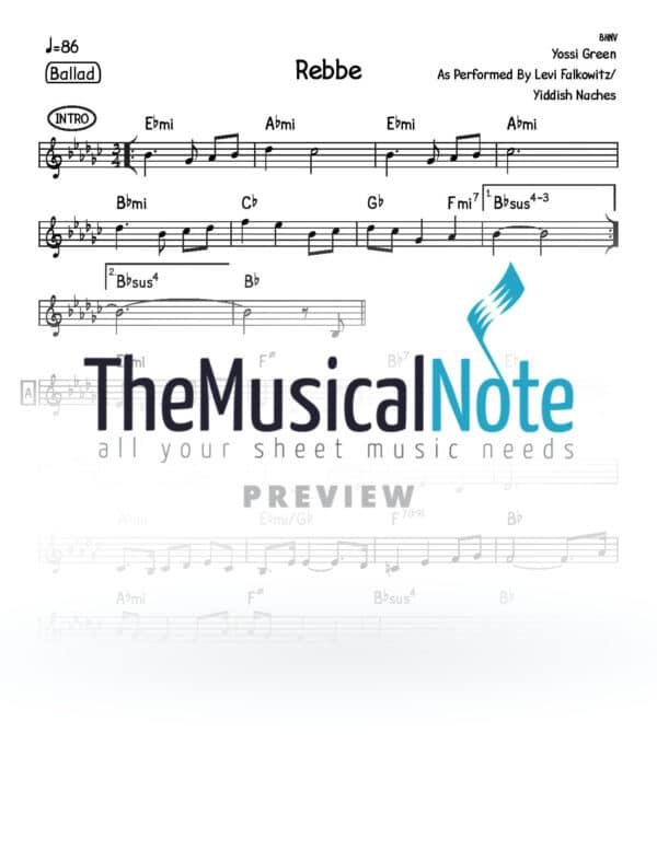 Rebbe Yiddish Nachas Music Sheet