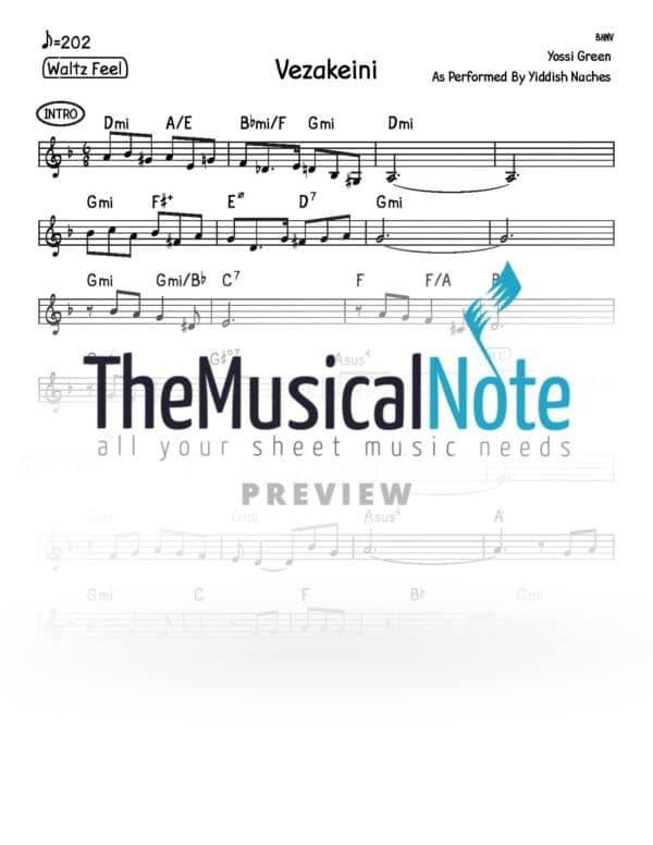 Vezakeini Yiddish Nachas Music Sheet