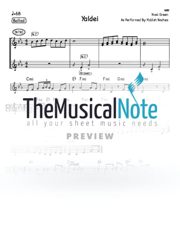 Yaldei Yiddish Nachas Music Sheet