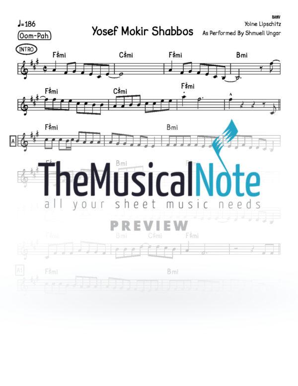 Yosef Mokir Shabbos Shmueli Ungar Music Sheet