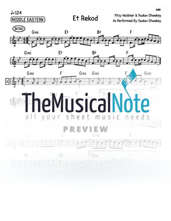 Et Rekod Yaakov Shwekey Music Sheet