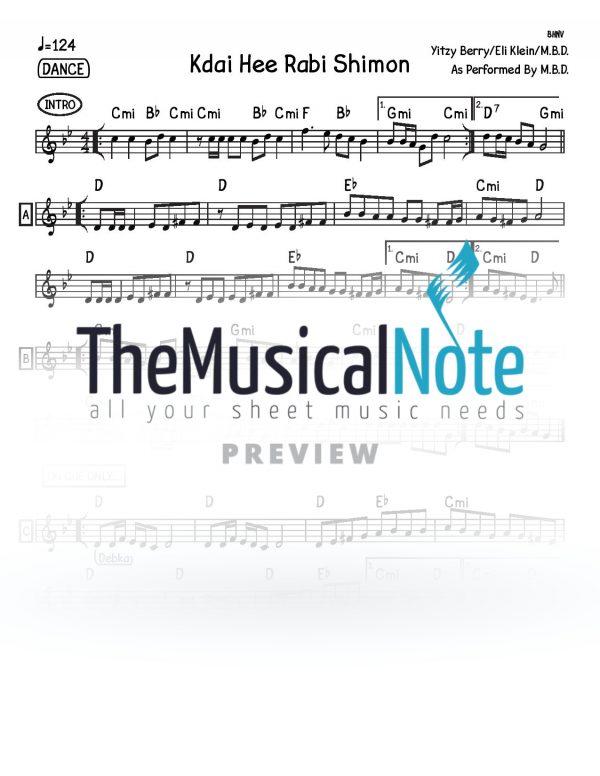 Kdai Hee Rabbi Shimon MBD Music Sheet