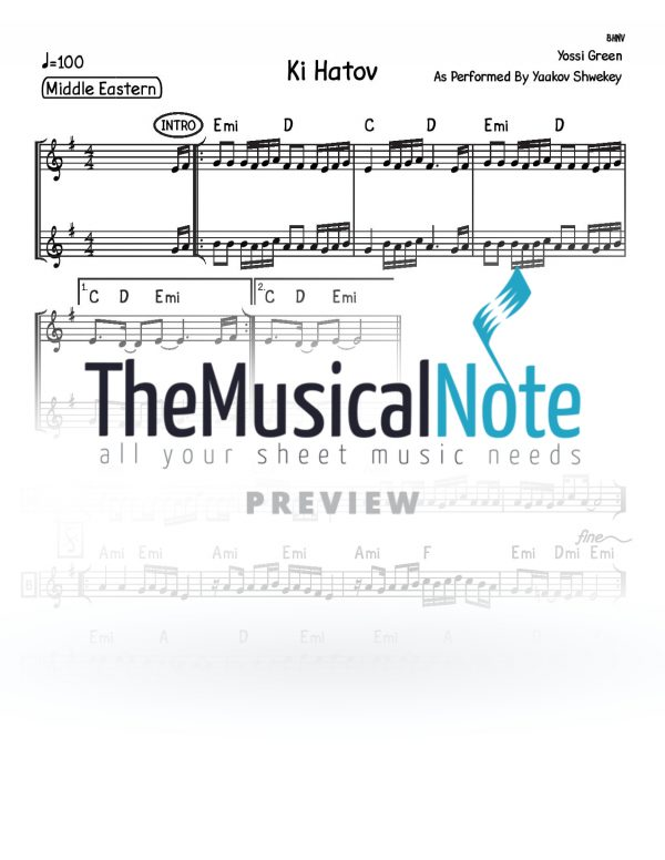 Ki Hatov Yaakov Shwekey Music Sheet