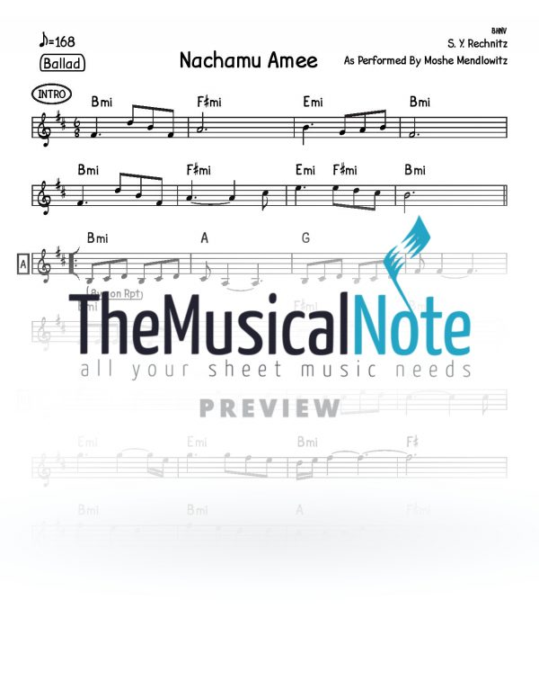 14 - Nachamu Amee Shlomo Yehuda Rechnitz Music Sheet