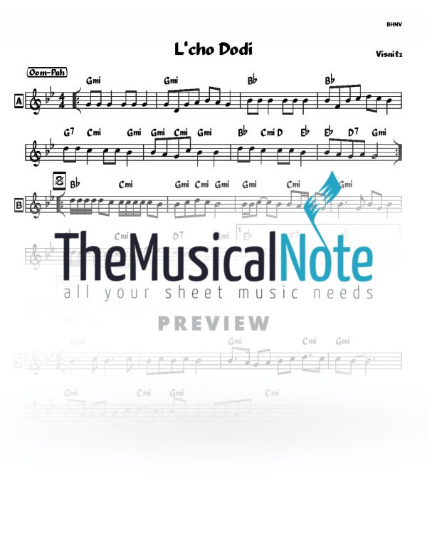 Lcho Dodi Visnitz Music Sheet