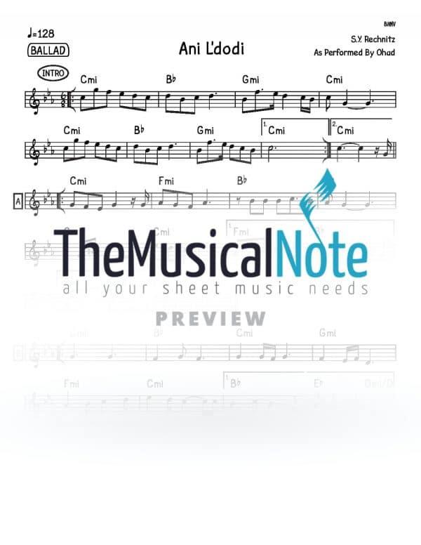 Ani Ldodi Ohad Music Sheet