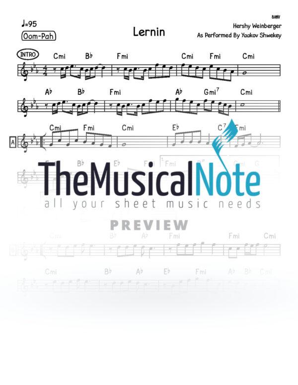 Lernin Yaakov Shwekey Music Sheet